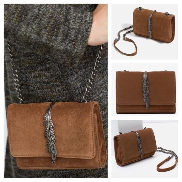6df227e1853 ZARA Leather Crossbody Bag with Metal Detail. M_5abd1df6331627fc9af34ec5
